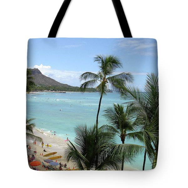 Fun Times On The Beach In Waikiki Tote Bag by Karen Nicholson