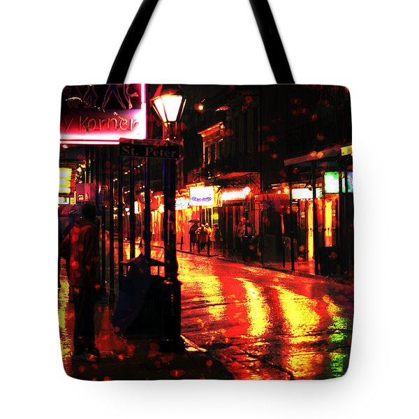 Funky Bourbon Street Colors Tote Bag by John Rizzuto