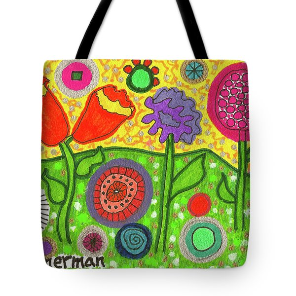 Funky Flowers All In A Row Tote Bag