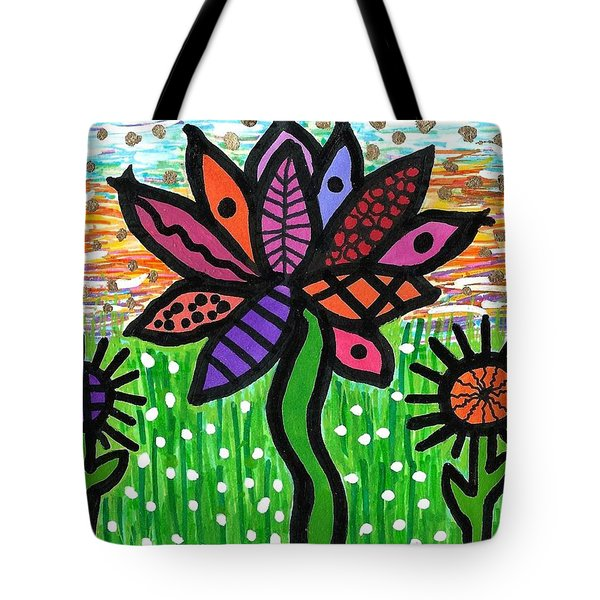 Funky Flowers At Sunset Tote Bag