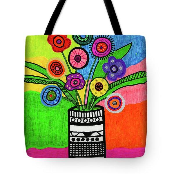Funky Folk Flowers Tote Bag