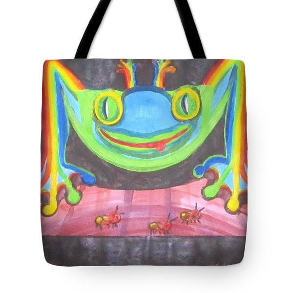 Funky Frog Tote Bag by Cathy Long