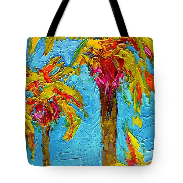 Funky Fun Palm Trees - Modern Impressionist Knife Palette Oil Painting Tote Bag