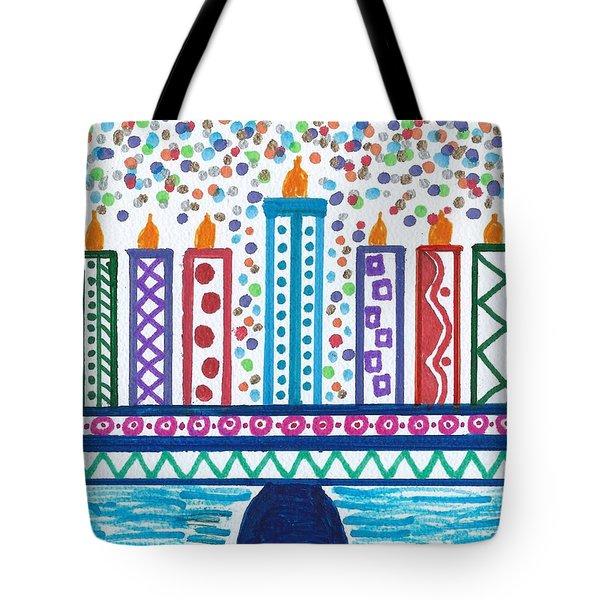Funky Menorah  Tote Bag