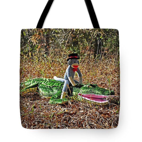 Tote Bag featuring the photograph Funky Monkey - Reptile Rider by Al Powell Photography USA