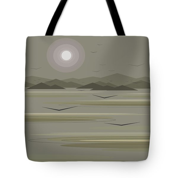 Tote Bag featuring the digital art Funky Moon Birds by Val Arie