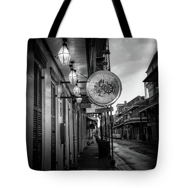 Funky Pirate In Black And White Tote Bag