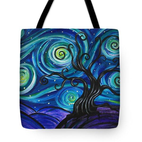 Funky Tree, Starry Night Tote Bag