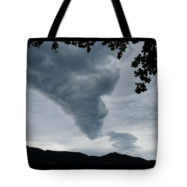 Tote Bag featuring the photograph Funnel Cloud Over The Mountains by Menega Sabidussi