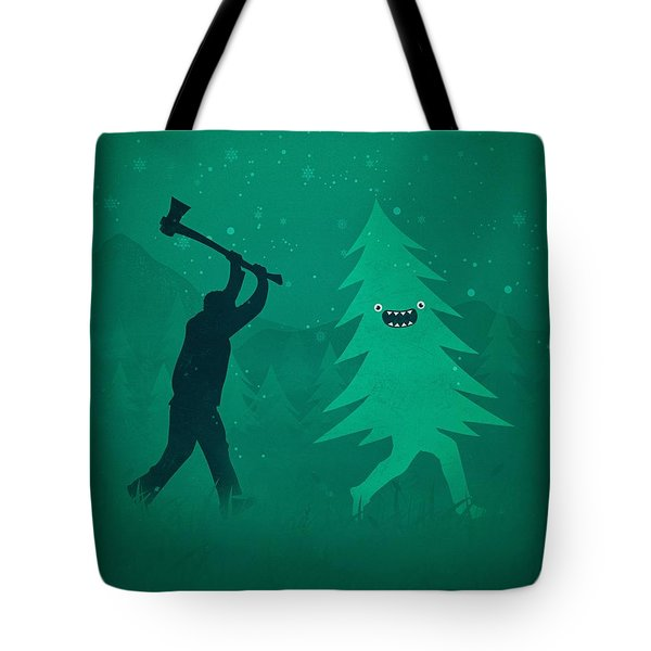 Funny Cartoon Christmas Tree Is Chased By Lumberjack Run Forrest Run Tote Bag by Philipp Rietz