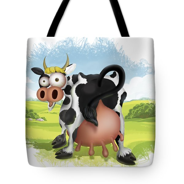 Tote Bag featuring the drawing Funny Cow by Julia Art