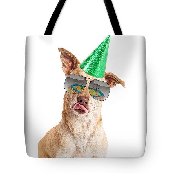 Funny Dog Birthday Cake Reflection Tote Bag
