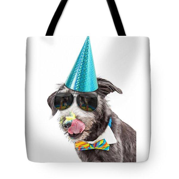 Funny Dog Eating Birthday Cake Tote Bag