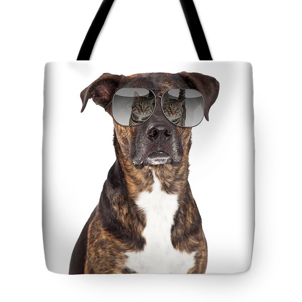 Funny Dog With Cat Reflection In Sunglasses Tote Bag