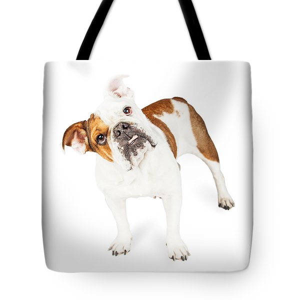 Funny English Bulldog Standing Tilting Head Tote Bag