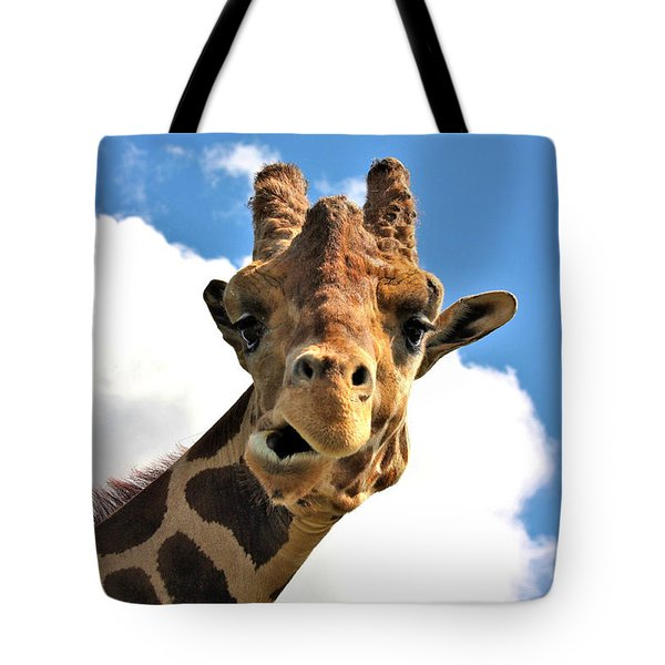 Funny Face Giraffe Tote Bag by Sheila Brown