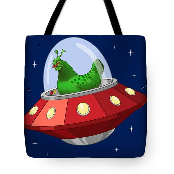 Funny Green Alien Martian Chicken In Flying Saucer Tote Bag