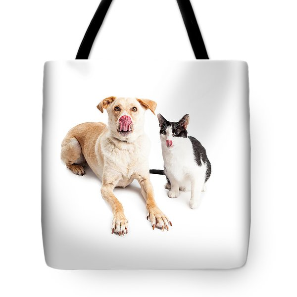 Funny Hungry Yellow Labrador Crossbreed Laying Tote Bag