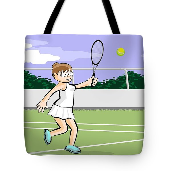 Funny Illustration Of A Brown-haired Woman Playing Tennis Tote Bag