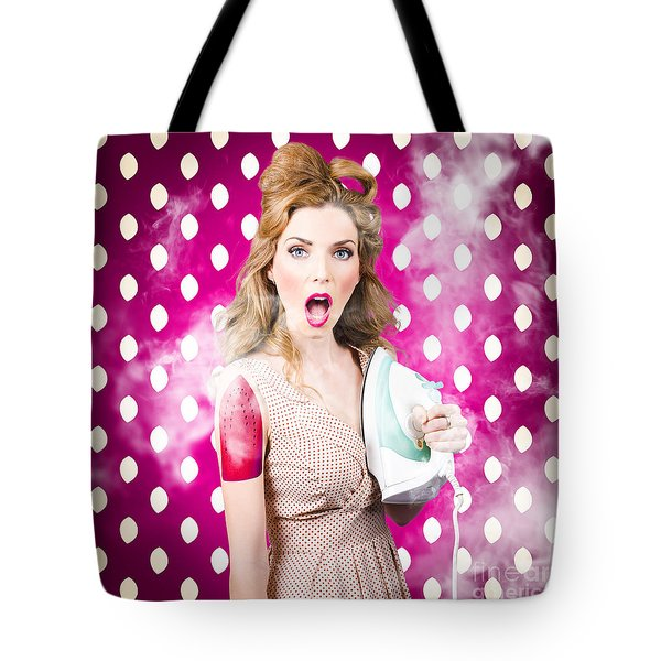 Tote Bag featuring the photograph Funny Pin-up Woman Pressing Clothes. Dry Cleaning by Jorgo Photography - Wall Art Gallery