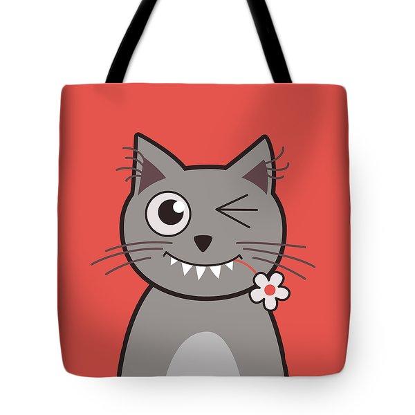 Funny Winking Cartoon Kitty Cat Tote Bag