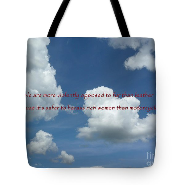 Tote Bag featuring the photograph Fur Vs. Leather by William Fields