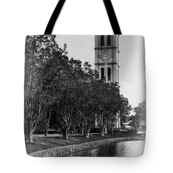 Furman University Bell Tower Greenville South Carolina Black And White Tote Bag