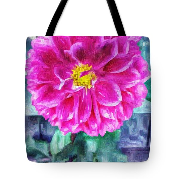 Fuschia Dahlia In Oil Tote Bag