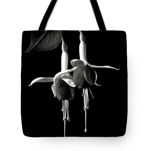 Fuschias In Black And White Tote Bag