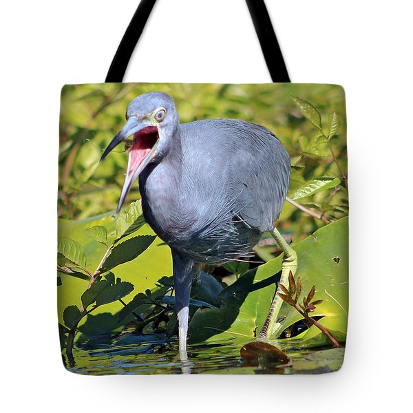 Fussy Little Blue Heron Tote Bag