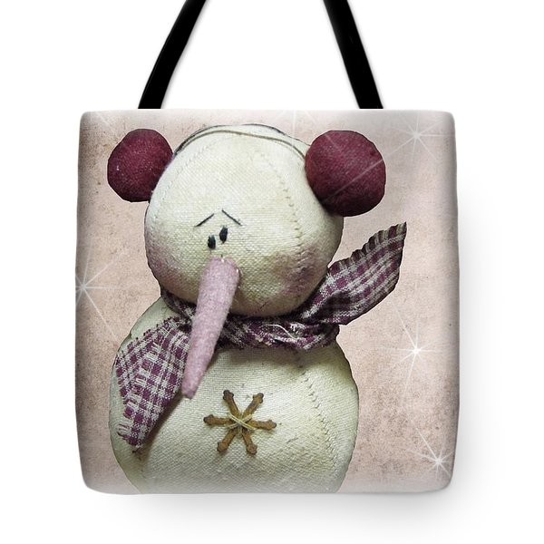 Fuzzy The Snowman Tote Bag by David Dehner