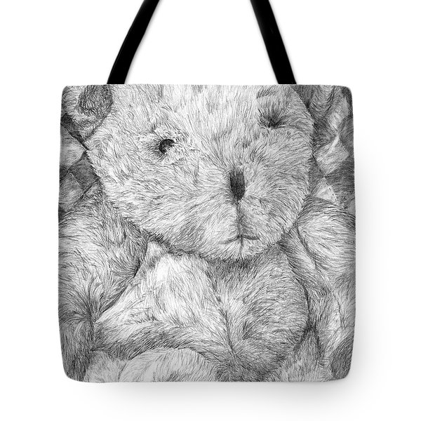Tote Bag featuring the drawing Fuzzy Wuzzy Bear  by Vicki  Housel
