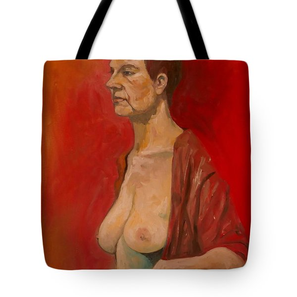 Tote Bag featuring the painting Gabrielle Standing by Ray Agius