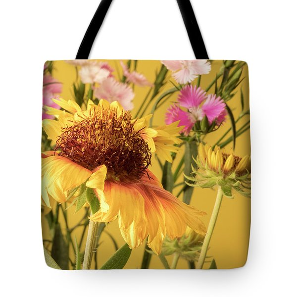 Gaillardia And Dianthus Tote Bag by Richard Rizzo