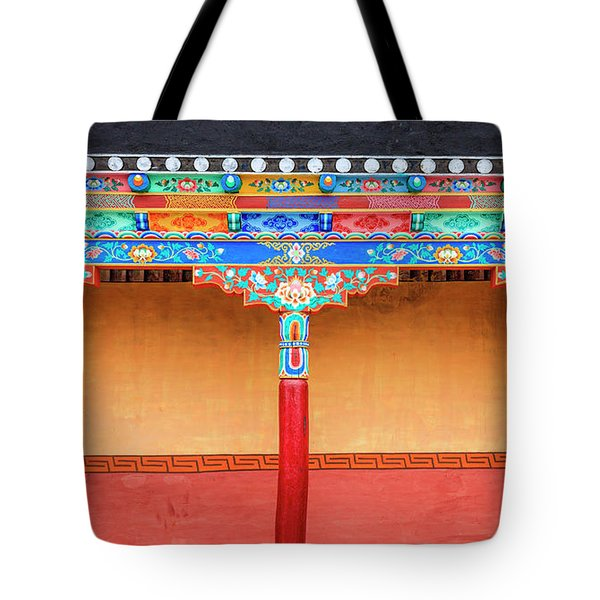 Tote Bag featuring the photograph Gallery In A Buddhist Monastery by Alexey Stiop