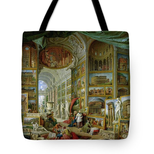 Gallery Of Views Of Ancient Rome Tote Bag by Giovanni Paolo Pannini