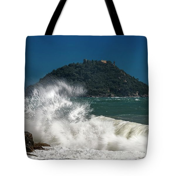 Tote Bag featuring the photograph Gallinara Island Seastorm - Mareggiata All'isola Gallinara by Enrico Pelos