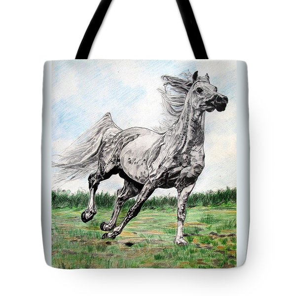 Galloping Arab Horse Tote Bag