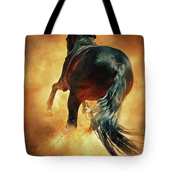 Galloping Horse In Fire Dust Tote Bag