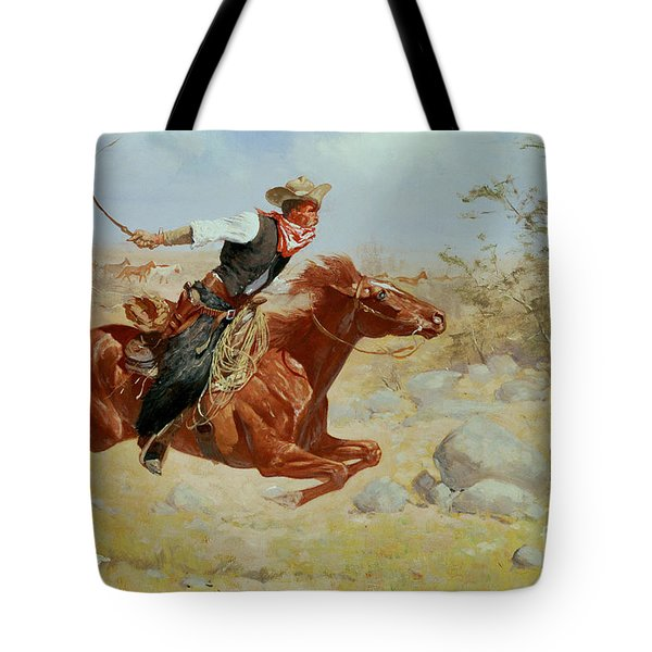 Galloping Horseman Tote Bag by Frederic Remington