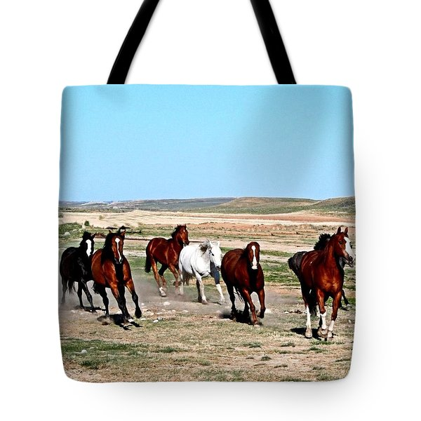 Galloping Horses Tote Bag
