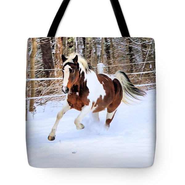 Galloping In The Snow Tote Bag by Elizabeth Dow