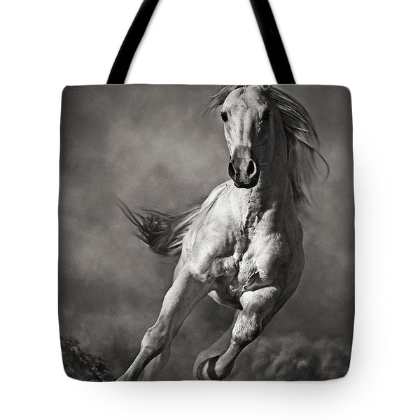 Galloping White Horse In Dust Tote Bag