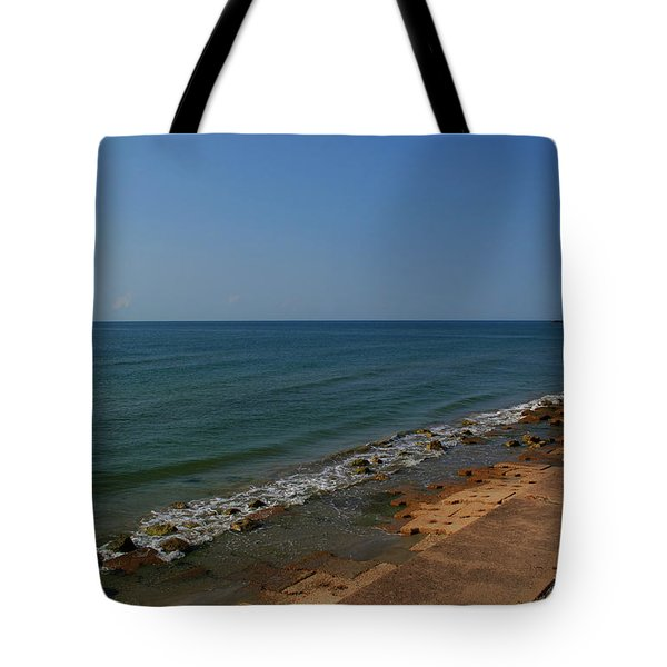 Tote Bag featuring the photograph Galveston Beach At The Seawall by Tikvah's Hope