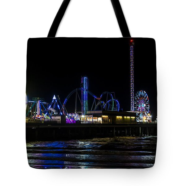 Galveston Island Historic Pleasure Pier At Night Tote Bag