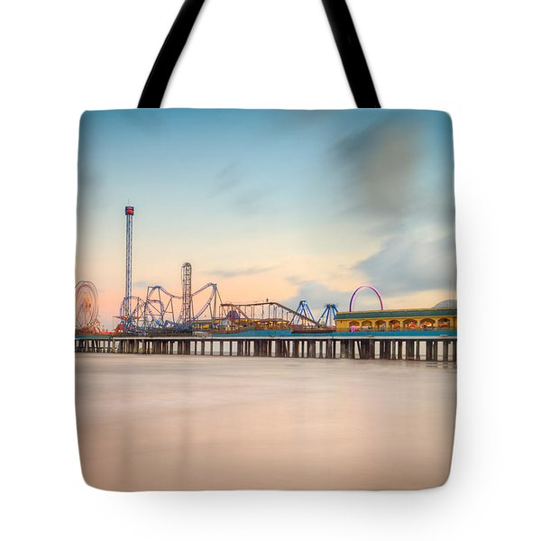 Galveston Pleasure Pier Sunset Tote Bag