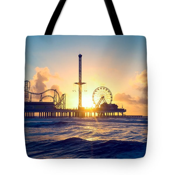 Tote Bag featuring the photograph Galveston Sunrise Waves by Ray Devlin