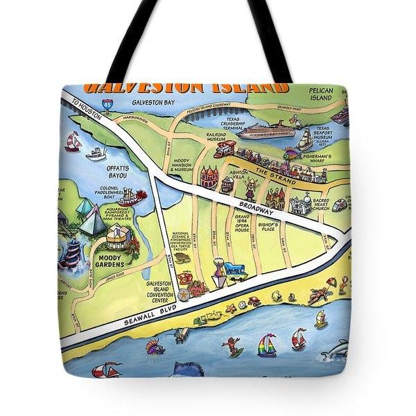Galveston Texas Cartoon Map Tote Bag