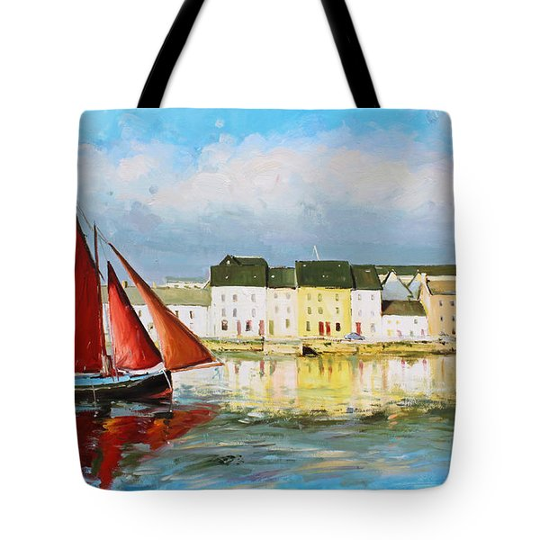 Galway Hooker Leaving Port Tote Bag by Conor McGuire