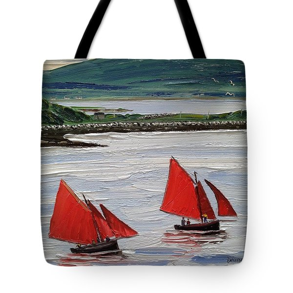 Galway Hookers Sailing By Roundstone Harbour Connemara Ireland Tote Bag by Diana Shephard